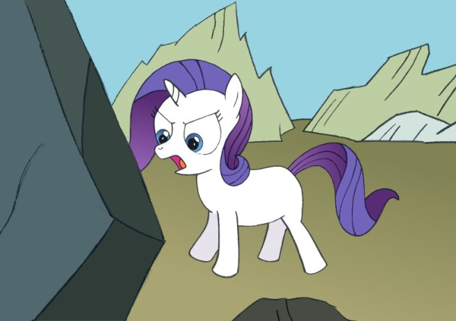 Young Rarity with an angry face, standing in front of a large rock