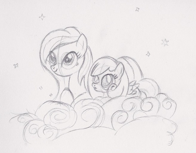 Snowdrop and her mother Primrose sitting on a cloud
