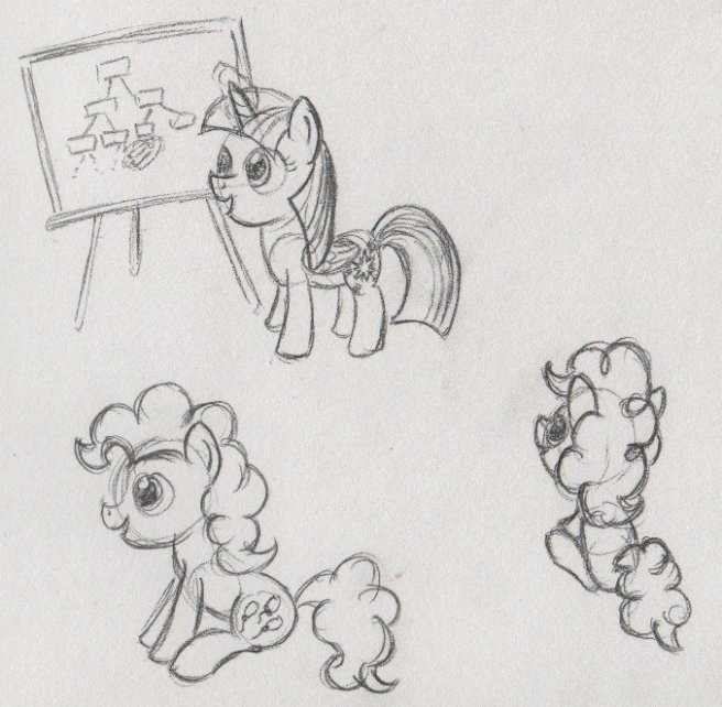 Sketches of Twilight in front of a blackboard, and Pinkie sitting from two different angles