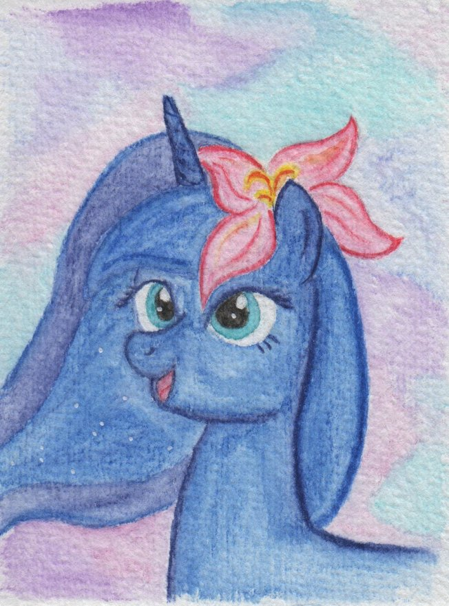 Princess Luna with a flower in her hair, pastel colors in the background