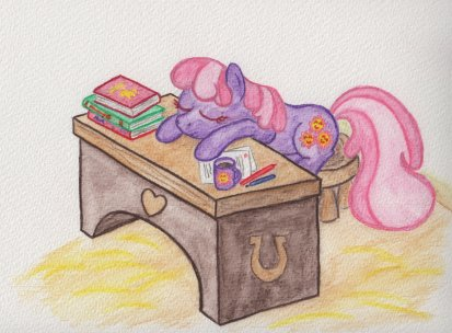 Miss Cheerilee sleeping at her desk