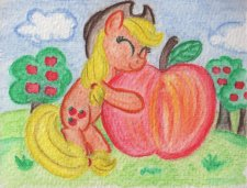 Applejack hugging a giant apple