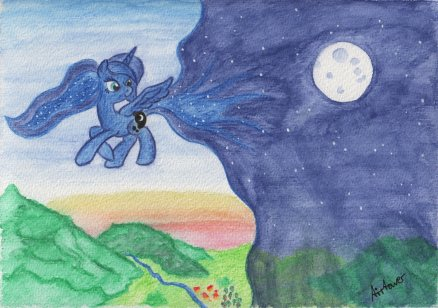 Luna flying across the dusk sky, pulling the night sky over the land