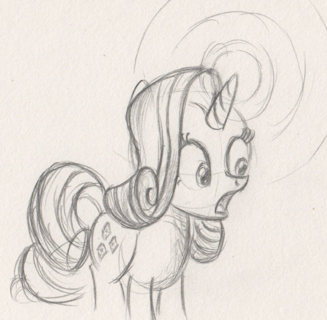 Rarity with a scared face and light shining from her horn
